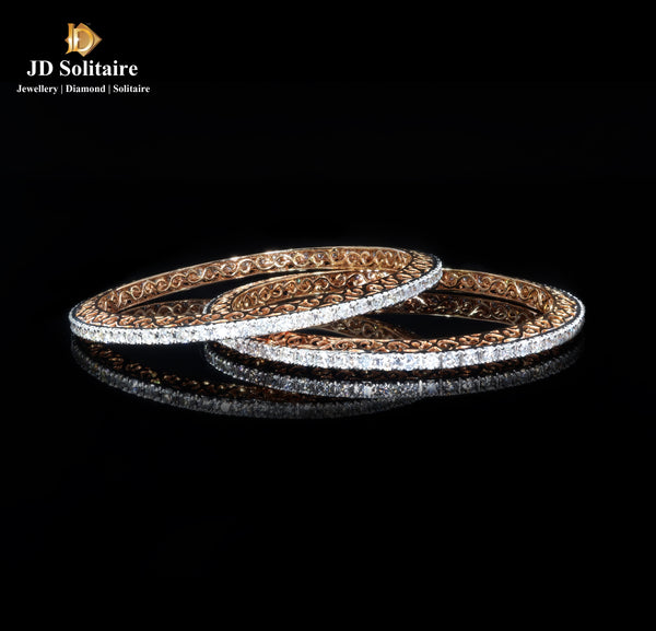 All Diamond Yellow Gold Bangle Pair
