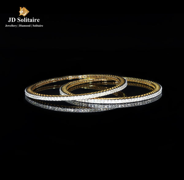 Diamond Yellow Gold Bangle Pair