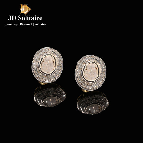 Antique Hyderabadi Polki Diamond Earrings