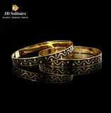 Black Meena Plain Gold Bangle Pair