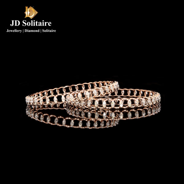 Diamond Rose Gold Bangle Pair
