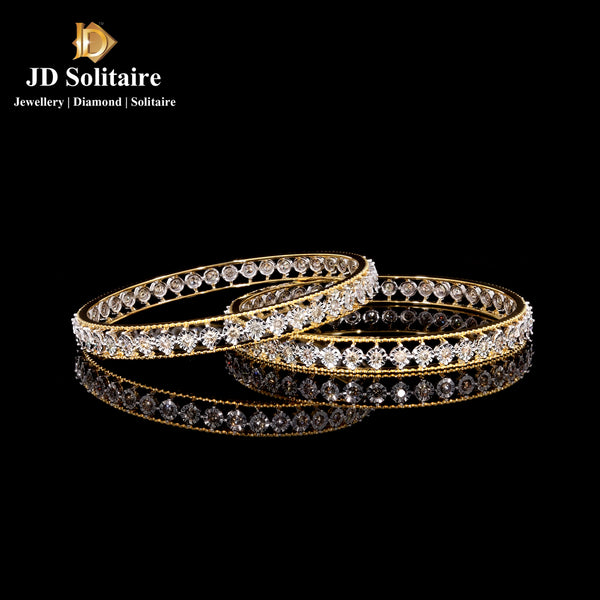 Illusion Setting Diamond Yellow Gold Bangle Pair