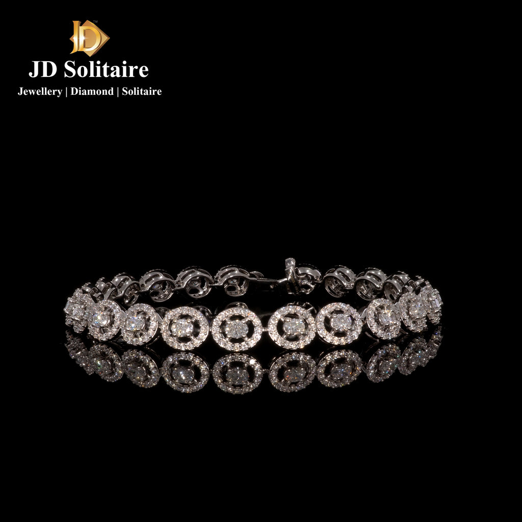 Oval Cut With Small Diamond White Gold Tennise Bracelet