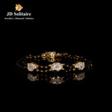 Diamond Yellow Gold Bracelet With Black Beads Mangalsutra String