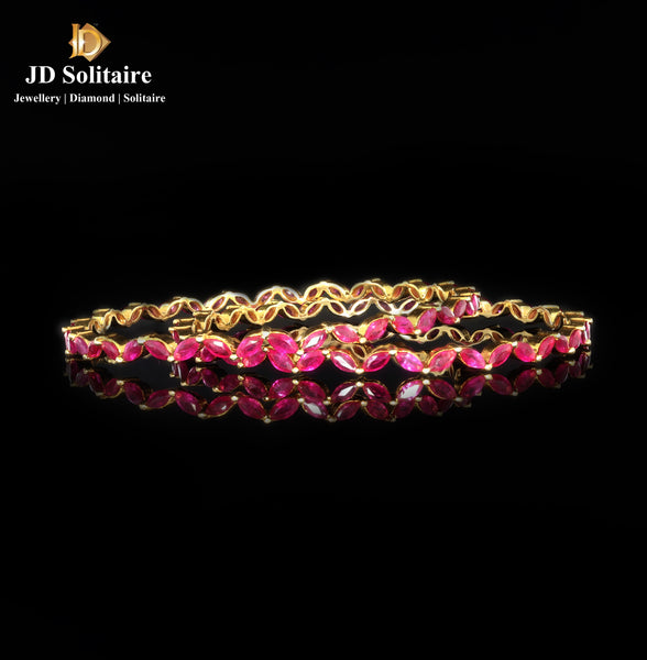 Marquise Ruby Yellow Gold Bangle Pair