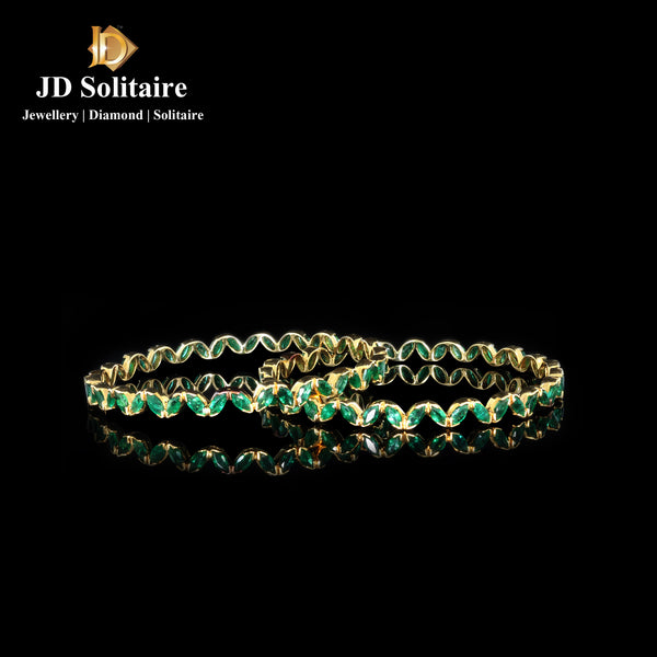 Marquise Emerald Yellow Gold Bangle Pair