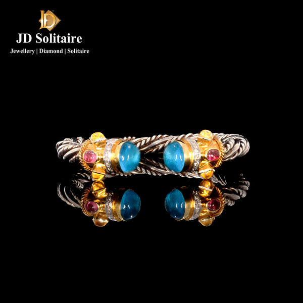 Tourmaline,Golden,Blue Topaz Diamond Gold & Silver Bracelet