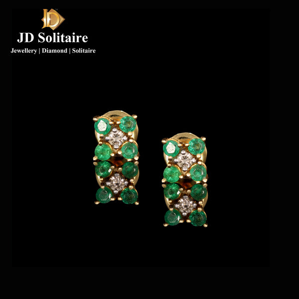 Emerald Diamond Yellow Gold Earrings