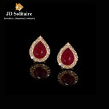 Pear Shape Ruby Diamond Yellow Gold Tops Earrings