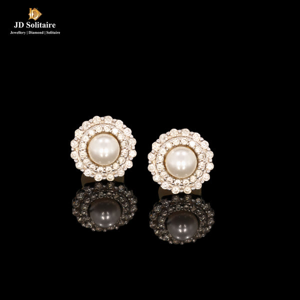 Diamond Natural Pearl Earrings
