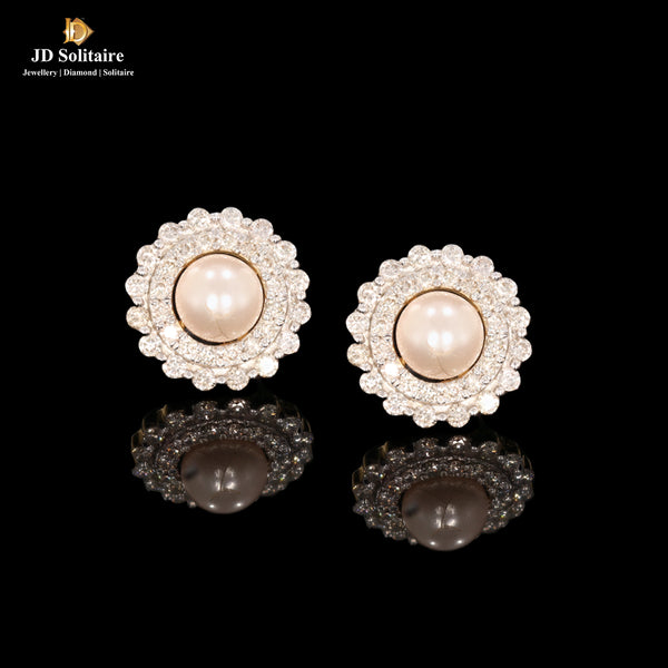 Pearl+Diamond Yellow Gold Earrings