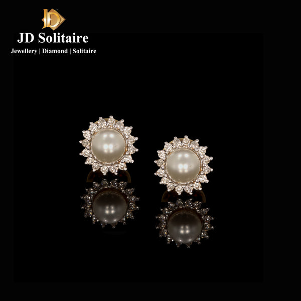 Pearl Diamond Yellow Gold Earrings