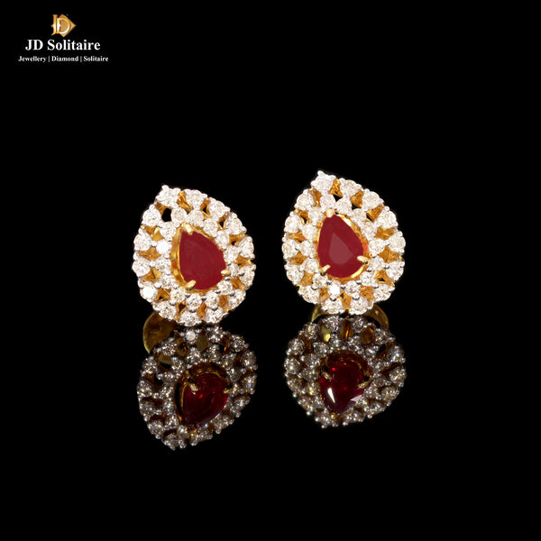 Pear Shape Ruby Diamond Yellow Gold Earrings