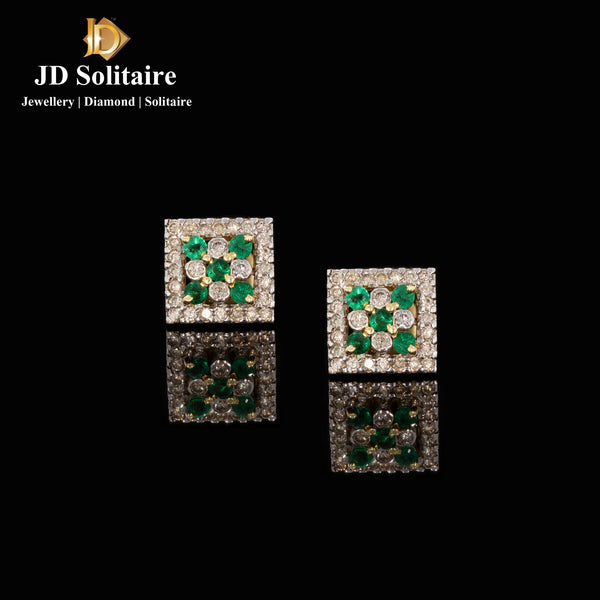 Emerald & Diamond Square Shape Earrings