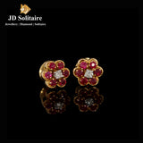 Ruby +Diamond Girda Design Yellow Gold Earrings