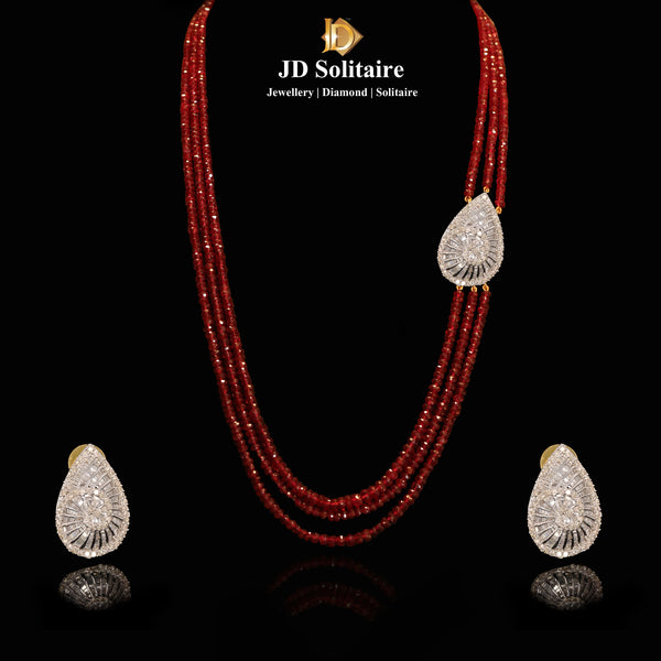 Round Baguette Diamond With Ruby Pendant Set