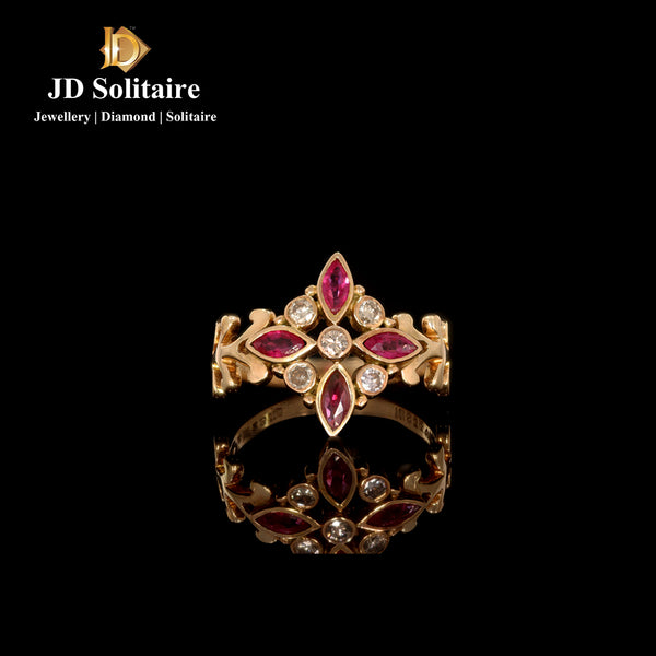 Marquise Ruby Diamonds Yellow Gold Ring
