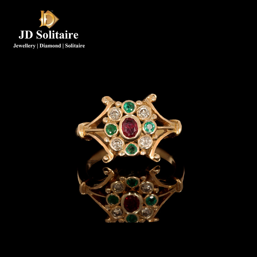 Emerald,Ruby Diamonds Yellow Gold Ring
