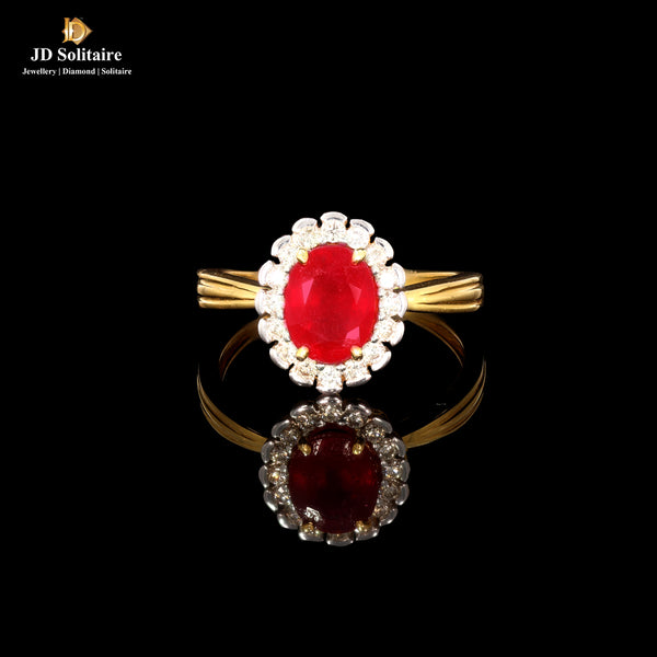 Oval Shape Ruby Diamond Yellow Gold Ring