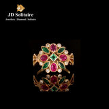 Ruby,Emerald Diamonds Yellow Gold Ring
