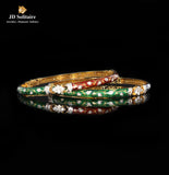 Multicolour Meena Round & Baguette Diamond Yellow Gold Bangle