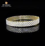 Jali Design Diamond Yellow Gold Single Bangle