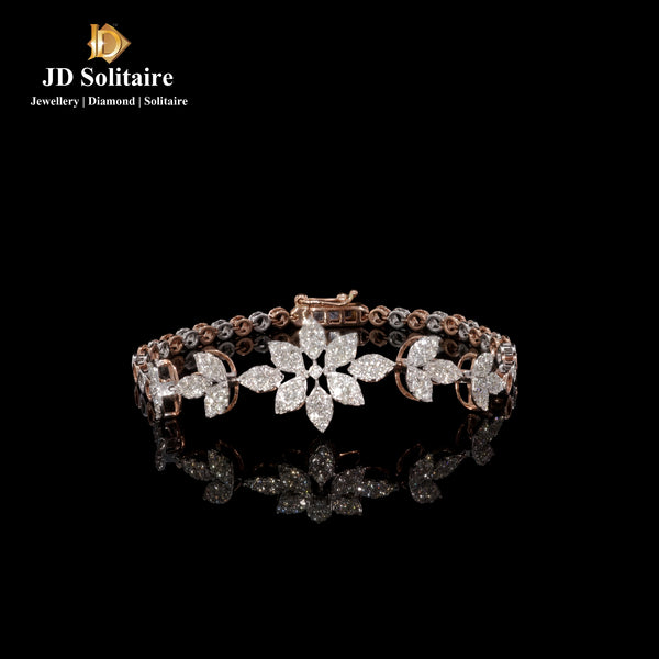 Diamond Rose & White Gold Tennise Bracelet