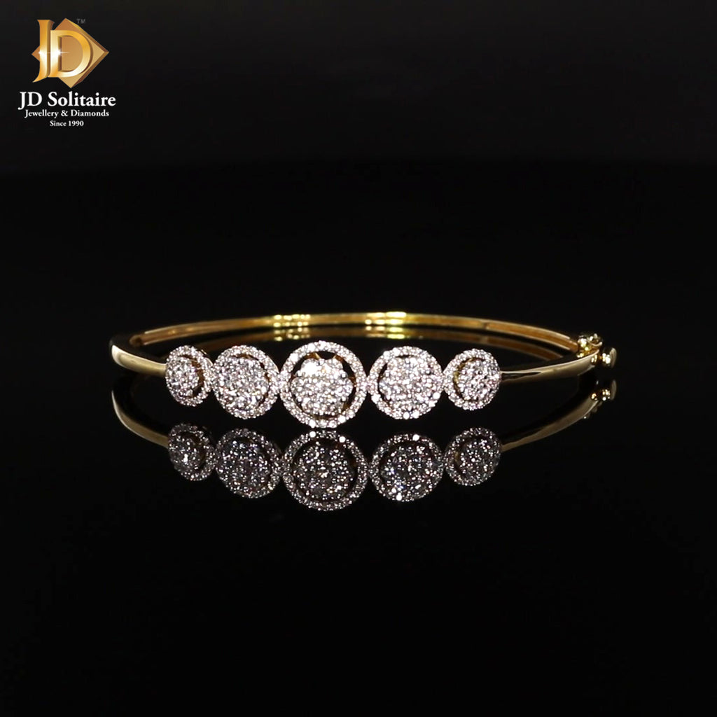 Pressure Setting Diamond Yellow Gold Bracelet.