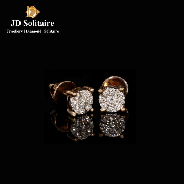 Illusion Setting Diamond Yellow Gold Earrings