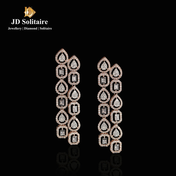 Bauguette Round Diamond Earrings