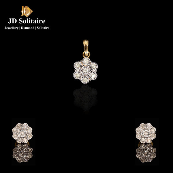 Illusion Setting Diamond Yellow Gold Pendant Set