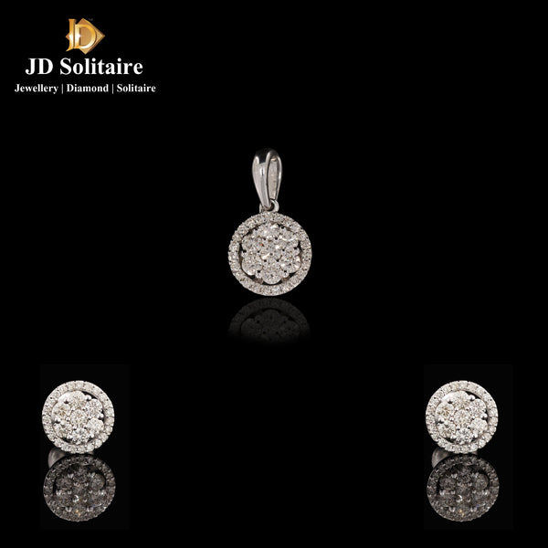 Diamond Yellow Gold Pendant Set
