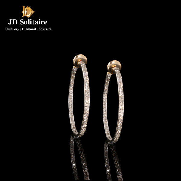 Diamond Yellow Gold Bali Earrings