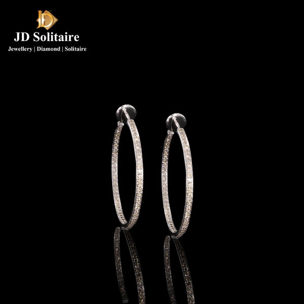 Diamond White Gold Round Bali Earrings