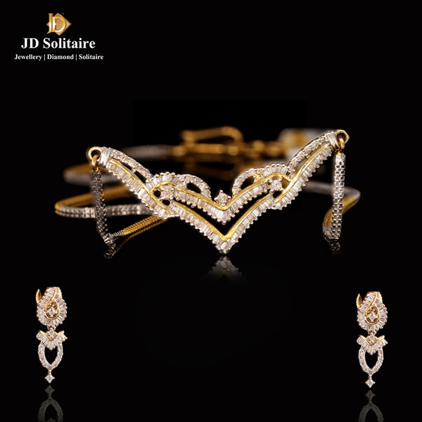 Round  Baguette Diamond Yellow Gold Tinmania Set With Chain