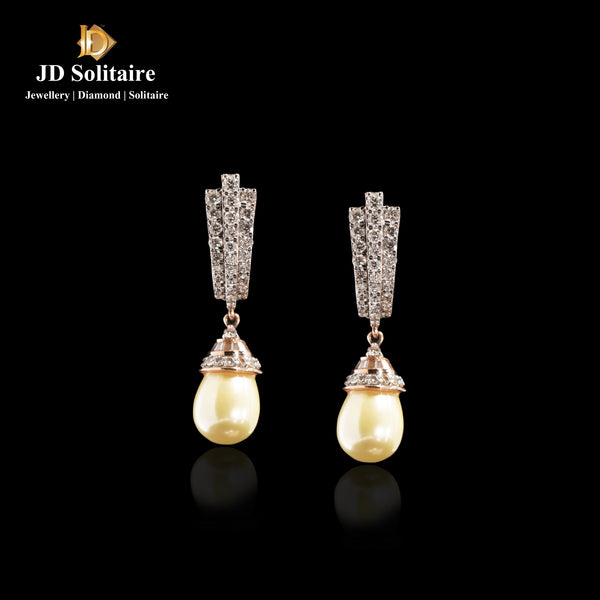 Diamond Hanging Earring with Pearl