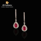 Ruby Diamond Yellow Gold Earrings
