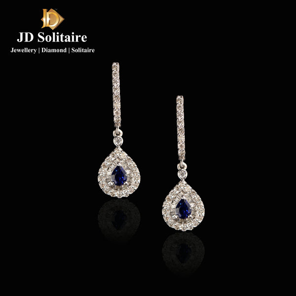 Blue Stone Round+Baguette Diamond White Gold Earrings