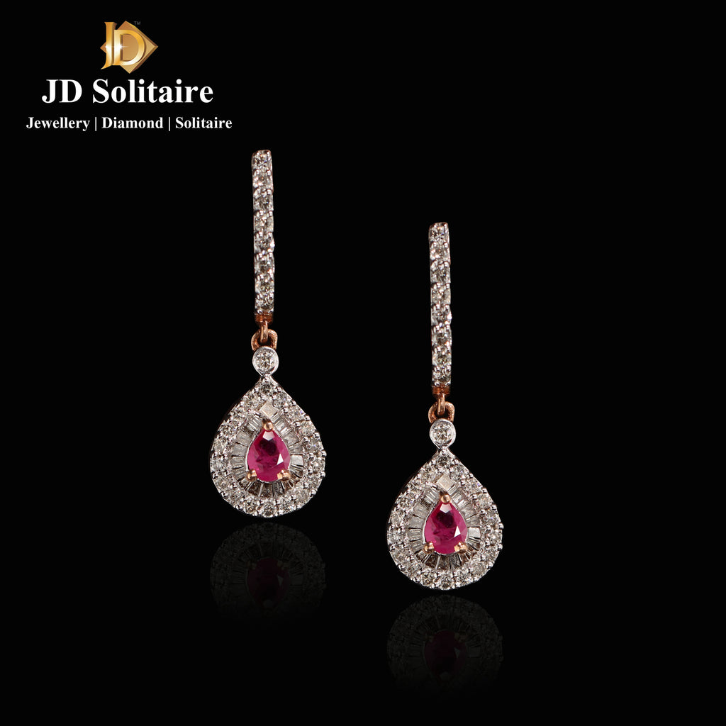 Ruby + Round, Baguette Diamond Rose Gold Earrings