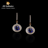 Blue Stone & Round +Baguette Diamond Rose Gold Bali Earrings