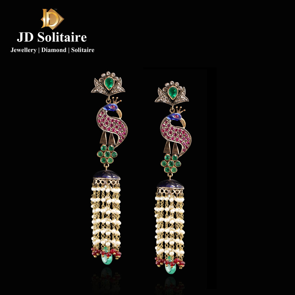 Antique Ruby + Emerald Peacock Design Earrings