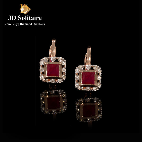 Color Stone Diamond Earrings