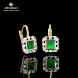 Green Stone, Diamonds Yellow Gold Earrings