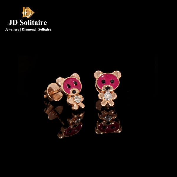 Diamond Rose Gold Teddy Design Earrings