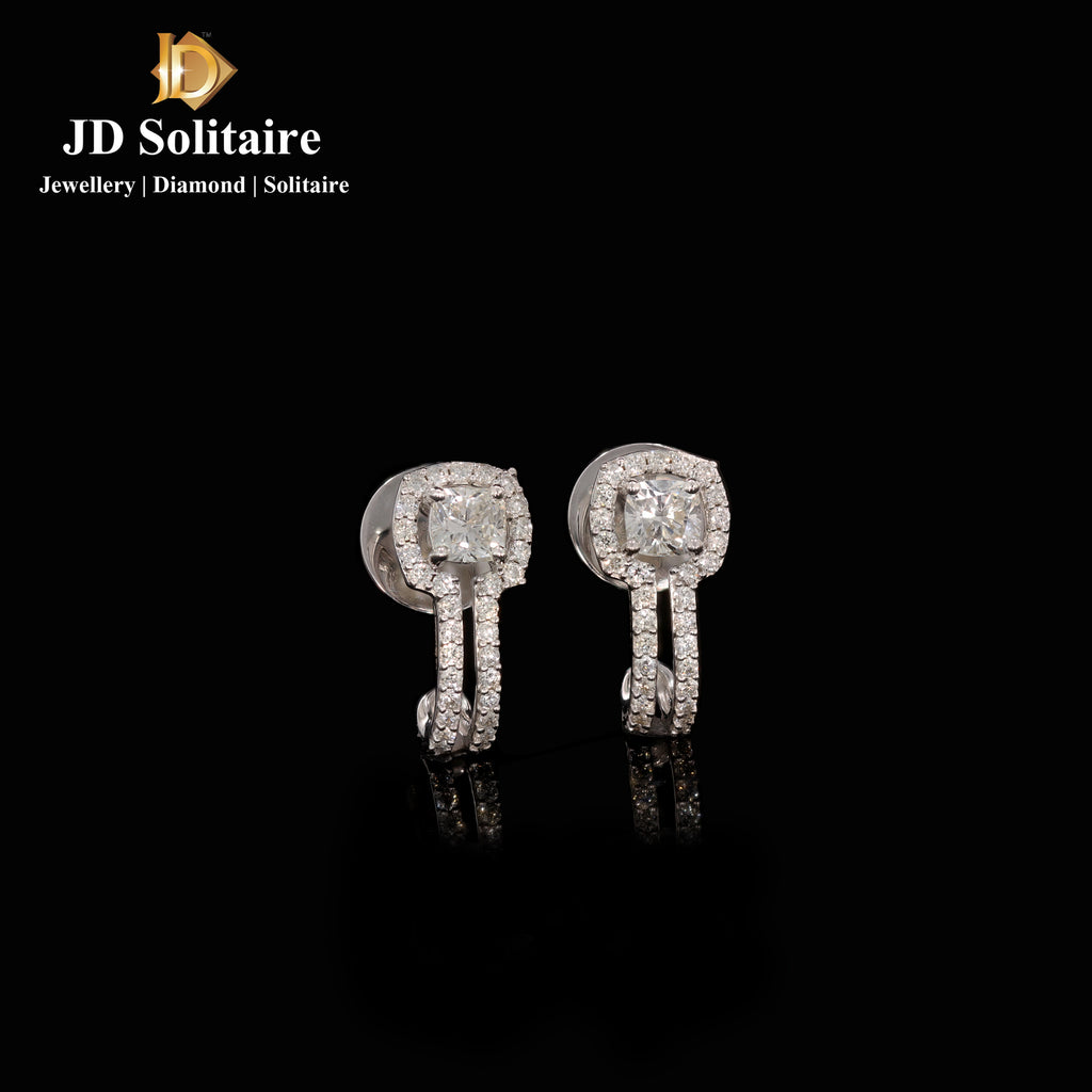 Cushion Cut With Small Diamond White Gold Bali Earrings