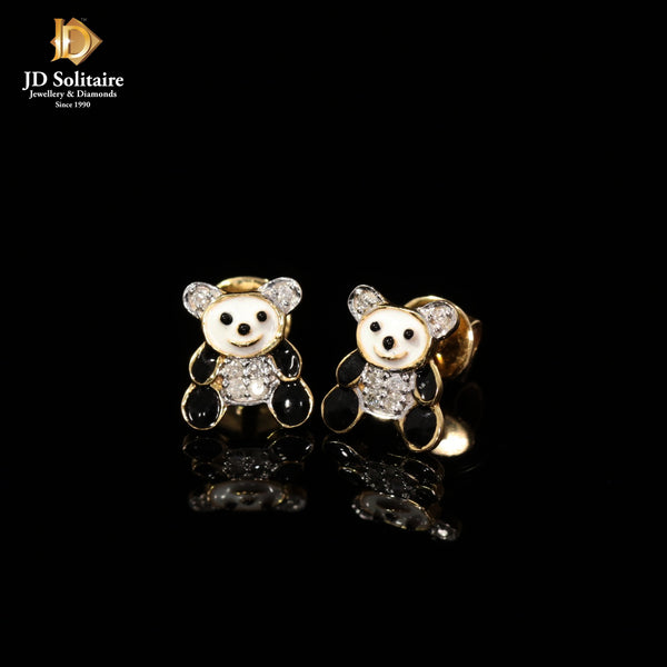 Diamond Meena Work Yellow Gold Studs