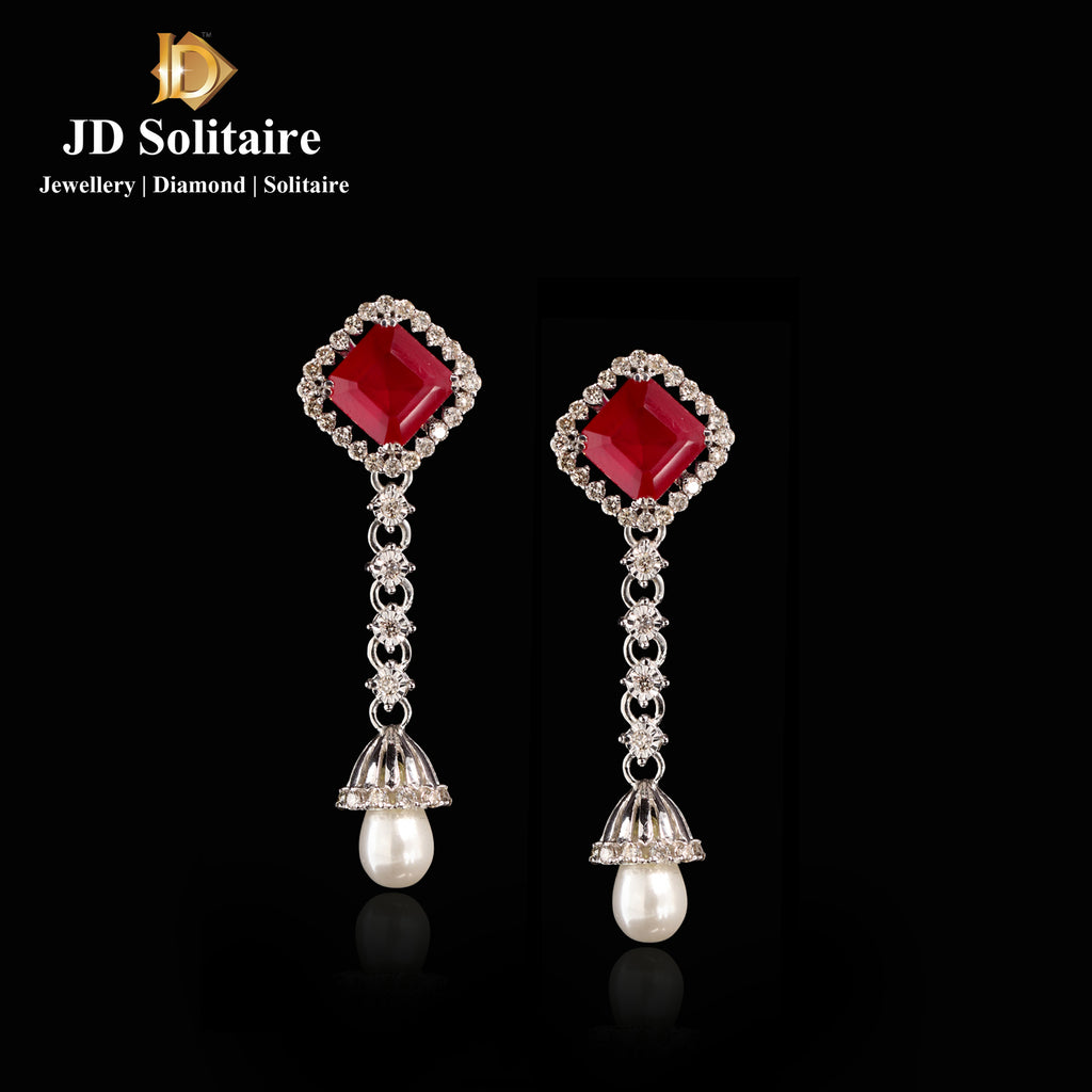Red Stone Diamond Yellow Gold Hanging Earrings With Pearl