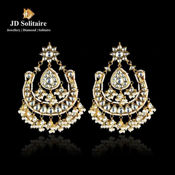 Kundan Chand Bali with Pearls Earings