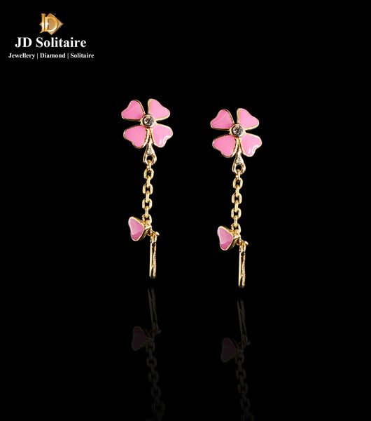 Diamond Pink Meena Work Yellow Gold Earrings