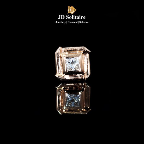 Princess Cut Single Diamond Rose Gold Men's Stud